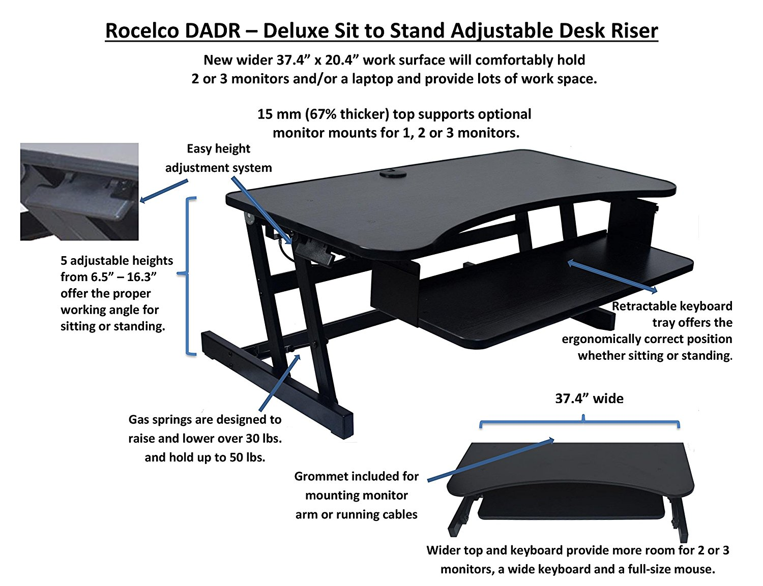 Rocelco Dadr Deluxe Adjustable Height Sit To Stand Desk Riser