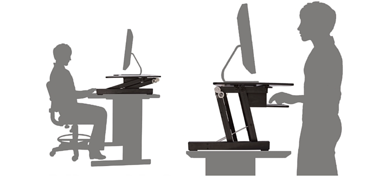 Rocelco Adr Adjustable Height Sit To Stand Desk Riser White