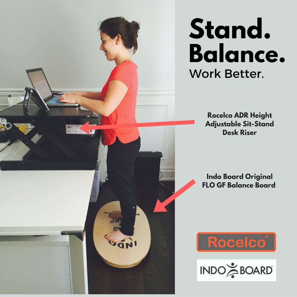 Rocelco Adr Amp Indo Board Original Flo Standup Desk Bundle